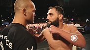 Stars from UFC 171 hit the scales Friday before the big event on Saturday. Drama ensues as headline Johny Hendricks struggles to make weight his first time around.