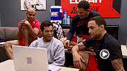 Hector Urbina and coaches from Team Edgar watch film in preparation for his prelim fight with Cathal Pendred. Despite having only 17 seconds of Octagon footage to work with, coach Edgar helps Urbina work out the kinks.