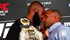 UFC 178 미디어데이에서 존 존스와 다니엘 코미어가 신경전을 펼치며 한바탕 소동을 일으켰다