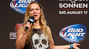 While at the FOX Sports studios, Ronda Rousey accepted Dana White's ALS ice bucket challenge.