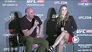 UFC president Dana White and women's bantamweight champion Ronda Rousey answer questions from fans in Macao.