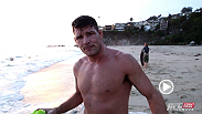 Michael Bisping trades in the the gym for the beach as he trains outside on the sunny beaches of Southern California.