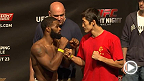 UFC stars Tyron Woodley, Dong Hyun Kim, Michael Bisping, and Cung Le weigh-in and face off before taking the Octagon Saturday in Macao.