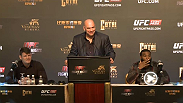 UFC president Dana White and big winner from Fight Night Macao, Tyron Woodley and Michael Bisping, meet with the media following their bonus-winning performances.