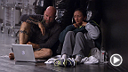 No. 1 seed and former Invicta FC strawweight champion Carla Esparza watches film with her Team Pettis striking coach before taking the Octagon against Angela Hill.
