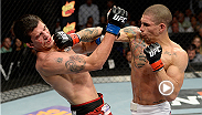 Featherweight contender Lucas Martins delivers a vicious right hand to Alex White to earn himself a knockout victory in the third round. See Martins battle Darren Elkins at UFC 179 in Rio de Janeiro, Brazil.