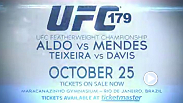 UFC featherweight champion Jose Aldo faces Chad Mendes in a rematch for the strap at UFC 179. Also headlining the card is a light heavyweight bout between Glover Teixeira and Phil Davis. Tickets are still available.
