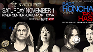 Barb Honchak and Vanessa Porto battle it out to determine who will be Invicta's flyweight champion. Watch Honchak try to defend her title as she takes on Takayo Hashi for Invicta's world flyweight championship at Invicta FC 9 live on UFC FIGHT PASS.