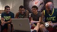 Fifth-ranked Aisling Daly watches film with Team Pettis coaches Anthony Pettis, Sergio Pettis, and Scott Cushman before her bout against Angela Magana on an all-new episode of The Ultimate Fighter: A Champion Will Be Crowned.