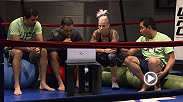 Bec Rawlings catches up with Team Melendez coaches to talk game plan before her bout with Tecia Torres.