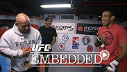 Fabricio Werdum and Mark Hunt make the promo rounds. Ricardo Lamas embraces the Mexican fans. Dennis Bermudez gets in another workout with UFC 180 welterweight Jake Ellenberger and his training partner Mark Munoz.