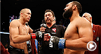 UFC superstar Georges St-Pierre and contender Johny Hendricks go full out, pushing each other to complete exhaustion, both wanting that welterweight belt. Hendricks looks to defend his title against Robbie Lawler in the main event at UFC 181 in Las Vegas.