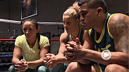 Semifinalist Carla Esparza talks gameplan with her coaches before facing off against Jessica Penne in The Ultimate Fighter: A Champion Will Be Crowned semifinals.