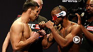 Former featherweight, Marcus Brimage shows his strength in the bantamweight division by knocking out Jumabieke Tuerxun with a spinning kick. Brimage takes on bantamweight Cody Garbrandt during the prelims at UFC 182 in Las Vegas, Nevada.