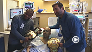 UFC fighters Daniel Cormier and Luke Rockhold visit Lucile Packard Children's Hospital at Stanford to inspire youths battling cancer to keep fighting.