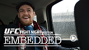 The two European headliners brave the Boston cold as fight week begins, with Conor McGregor making a day trip to appear on ESPN. Dennis Siver also lands, enjoying a dinner with his cornerman while doing some private trash talking of his opponent.