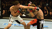 Making noise in his UFC debut, lightweight contender Joe Lauzon lands a huge left hand to Jens Pulver, ending the night in knockout fashion. Lauzon takes on Al Iaquinta during the main card at UFC 183 in Las Vegas, Nevada.
