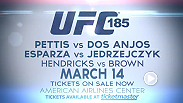 "Lightweight champ Anthony ""Showtime"" Pettis looks to defend his belt against top challenger Rafael dos Anjos and women's strawweight champ Carla Esparza hopes to retain her belt as she takes on Joanna Jedrzejczyk in Dallas, Texas."