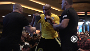Former UFC middleweight champion Anderson Silva puts on a workout for fans before taking the Octagon on Saturday at UFc 183.