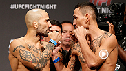 Featherweight contender Max Holloway lands a flurry of punches on Akira Corassani ending the night with a knockout victory. Holloway takes on Cole Miller in the co-main event at UFC Fight Night Broomfield.
