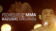 "Considered by UFC President Dana White to be one of the greatest talents of all time, the legend of Kazushi Sakuraba began at UFC Ultimate Japan in 1997. Fighting almost exclusively in Japan and the PRIDE FC organization, ""Saku"" became a national icon."
