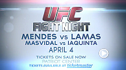 "Chad ""Money"" Mendes takes on Ricardo ""The Bully"" Lamas in a featherweight showdown of top contenders at UFC Fight Night in Fairfax, Virginia. Tickets are on sale now!"