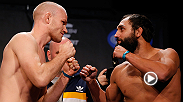 "No. 1 welterweight contender Johny ""Bigg Rigg"" Hendricks lands a solid left hook to Martin Kampmann and ends the night with a KO victory in the first round. Hendricks takes on Matt Brown during the main card at UFC 185 in Dallas, Texas."