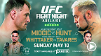 Top UFC heavyweights Stipe Miocic and Mark Hunt will head downunder to Adelaide, Australia as the main event for UFC Fight Night: Miocic vs. Hunt. Tickets are on sale now!