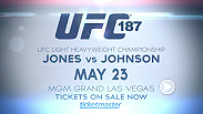 Two explosive title fights are set for UFC 187 as light heavyweight champ Jon Jones takes on Anthony Johnson and middleweight champ Chris Weidman looks to defend his belt against Vitor Belfort. Tickets are on sale now!