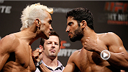 Featherweight contender Godofredo Pepey shows off his dangerous flying knee technique as he knocks out Noad Lahat in the first round earning a KO victory. Pepey takes on Andre Fili during the main card at UFC Fight Night Rio de Janeiro.