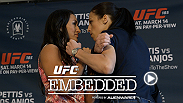 "Powered by Alienware, things get tense between Carla ""Cookie Monster"" Esparza Joanna Jedrzejczyk, culminating in a media day staredown. Anthony Pettis and his brother, Sergio, make weight while dreaming of snacks."