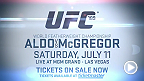 Two world title fights will take place at the MGM Grand in Las Vegas - reigning featherweight champ Jose Aldo battles top contender Conor McGregor and welterweight champ Robbie Lawler takes on Rory MacDonald. Tickets are on sale now!