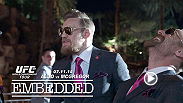Jose Aldo and Conor McGregor go Hollywood in Sin City. Their day starts with custom suits and talking toilets, then moves on to sound stages, body doubles and a live shoot on the Las Vegas Strip. Tickets for UFC 189 are on sale March 27 at 10 am PT.
