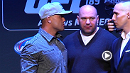 The UFC 189 World Championship Tour made its way to The Big Apple on Thursday. Check out the staredowns between Conor McGregor and Jose Aldo, as well as Rory MacDonald and Robbie Lawler in New York City.
