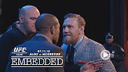 Jose Aldo and Conor McGregor share the stage yet again at The Strand Theatre. Buoyed by the Boston fans, Ireland's McGregor wields more insults and taunts at the featherweight champion. Tickets for UFC 189 are on sale Friday, March 27.