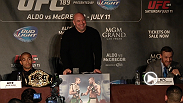 Watch the full replay of the London press conference featuring Jose Aldo, Conor McGregor, and Dana White.