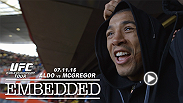 Jose Aldo and Conor McGregor cross the pond to England. Aldo cheers on his countrymen to victory in a soccer game, and the two face off once more at a tension-filled press conference. Tickets for UFC 189 are now on sale at UFCFIGHTWEEK.com.