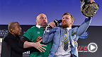 Watch as Irish sensation Conor McGregor boldly takes Jose Aldo's title belt during an exchange between the two in the midst of the Dublin fan Q&A session.
