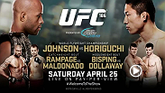 Rampage Jackson's return to the Octagon is back on, as he is set to face Fabio Maldonado in the co-main event. Demetrious Johnson puts his flyweight title on the line against Kyoji Horiguchi in the main event of UFC 186.