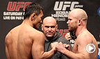 American middleweight Tim Boetsch and Japanese middleweight Yushin Okami exchange blows throughout their bout inside the Octagon. Boetsch battles Dan Henderson in the main event at UFC Fight Night in New Orleans, Louisiana.