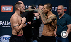 Hawaii native and lightweight contender Yancy Medeiros throws a dirty spinning back kick to Joe Proctor's abdomen and then sinks in a guillotine choke for the finish. Medeiros takes on Dustin Poirier during the main card at UFC Fight Night in New Orleans.