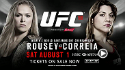 "Reigning women's bantamweight champion ""Rowdy"" Ronda Rousey aims to defend her title against challenger Bethe Correia in the main event at UFC 190 in Rio de Janeiro, Brazil. Tickets are on sale now!"
