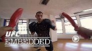 Heavyweights Cain Velasquez and Fabricio Werdum continue training in Mexico for their upcoming title fight. Werdum joins other UFC fighters for an encore viewing of UFC 180 while Eddie Alvarez and Gilbert Melendez get some last-minute motivation.