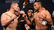UFC 188 main and co-main event stars Cain Velasquez, Fabricio Werdum, Gilbert Melendez and Eddie Alvarez weigh-in and face off in Mexico City. Check out the highlights and the staredowns between the fighters.
