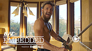 Chad Mendes trades the gym for a pool to test his endurance. Conor McGregor enjoys a poolside massage and adds a few unexpected weapons to his arsenal. Plus, Robbie Lawler and Rory MacDonald do some final prep at home.