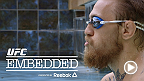 Chad Mendes gives cameras a peek inside his healthy hunter's lifestyle and his chicken coop while Conor McGregor stays loose with a hot tub and soccer ball. Welterweight Rory MacDonald gets in one last workout, and Robbie Lawler arrives in Las Vegas.