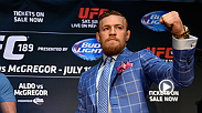 UFC featherweight Conor McGregor sits cageside at UFC 179 to watch Jose Aldo and Chad Mendes battle it out for the second time. The Irishman, who is mic'd up, gives his thoughts on the fight. McGregor faces Mendes Saturday night at UFC 189.