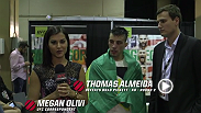 Thomas Almeida spoke backstage with Megan Olivi about his performance at UFC 189, with a KO win against Brad Pickett.