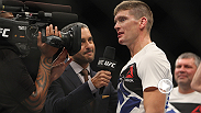 "UFC star Stephen Wonderboy"" Thompson talks in the octagon at The Ultimate Fighter Finale after his KO victory against Jake Ellenberger in Las Vegas."