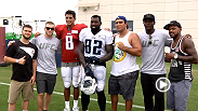 Ahead of their bouts in Nashville this Saturday night, Ovince Saint Preux, Michael Johnson and Dustin Ortiz made a stop out at Tennessee Titans training camp to talk to some of the players, including Marcus Mariota and Zach Brown.